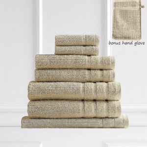 Royal Comfort Eden 600GSM 100% Egyptian Cotton 8 Piece Towel Pack | Beige