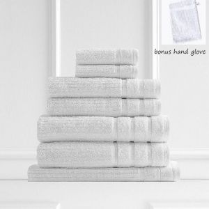 Royal Comfort Eden 600GSM 100% Egyptian Cotton 8 Piece Towel Pack | White