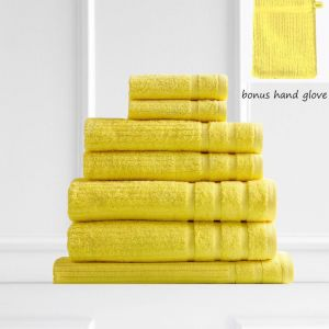 Royal Comfort Eden 600GSM 100% Egyptian Cotton 8 Piece Towel Pack | Yellow