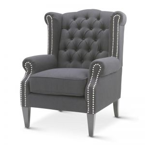 Royal Wingback Armchair | Charcoal | by Black Mango