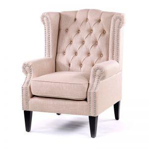 Royal Wingback Armchair | Dusty Pink | by Black Mango