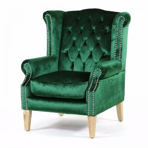 Royal Wingback Armchair | Emerald With Oak Legs | by Black Mango