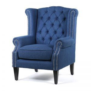 Royal Wingback Armchair | Navy | by Black Mango