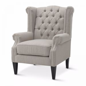 Royal Wingback Armchair | Taupe | by Black Mango