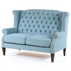 Royale Wingback Loveseat | Teal | by Black Mango