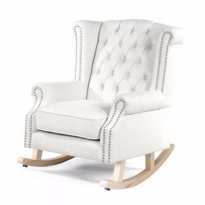 Royale Wingback Rocking Chair | Linen White | by Black Mango