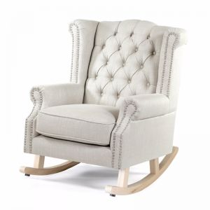 Royale Wingback Rocking Chair | Taupe | by Black Mango