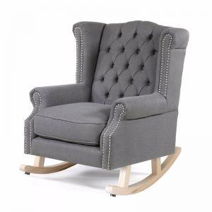 Royale Wingback Rocking Chair | Wolf Grey | by Black Mango