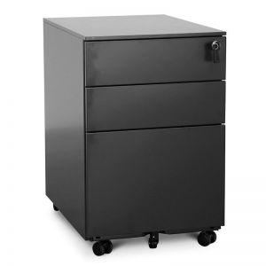 Russel 3 Drawers Mobile Pedestal   Black