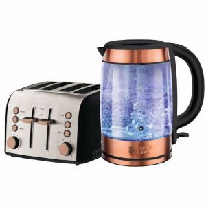 Russell Hobbs Brooklyn 4 Slice Toaster and 1.7L Glass Kettle Set