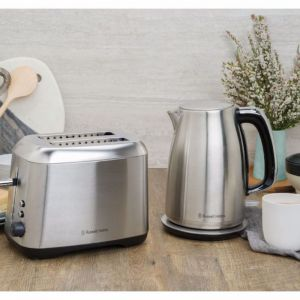 Russell Hobbs Carlton 1.7L Kettle and 2 Slice Toaster Set- Brushed Stainless Steel