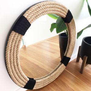 Rustic Black Rope Mirror