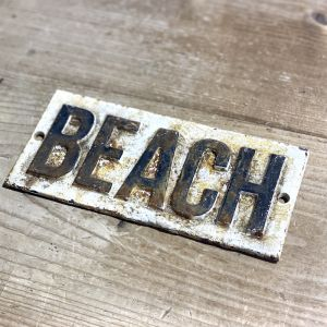 Rustic Cast Iron Beach Sign