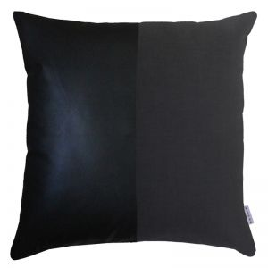 Ryder Leather + Linen Cushion | Black | Feather Insert