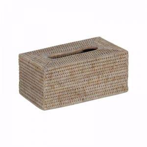 S/2 Rattan Rectangular Tissue Box | Whitewash or Antique Brown or Grey Wash Rattan by SATARA /