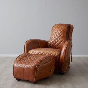 Saddle Armchair with Ottoman | Leather | Tan
