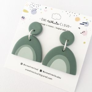 Sage Rainbow Earrings by One White Cloud