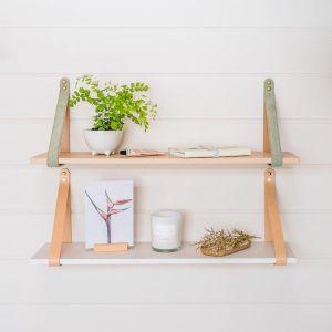 Sage Suede Strap Shelf | Nordic
