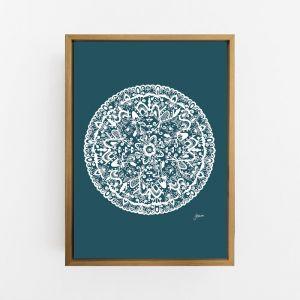 Sahara Decor Mandala in Dark Teal Solid Wall Art Print   by Pick a Pear   Canvas