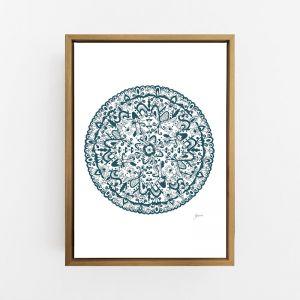Sahara Decor Mandala in Dark Teal Wall Art Print   by Pick a Pear   Canvas