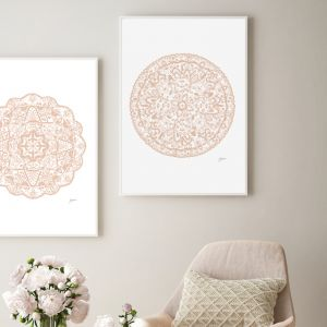 Sahara Décor Mandala in Light Blush Art Print by Pick a Pear | Framed