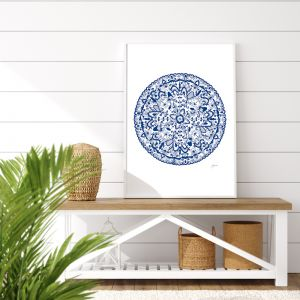 Sahara Décor Mandala in Navy Blue Fine Art Print | By Pick a Pear | Framed