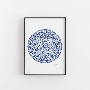 Sahara Decor Mandala in Navy Wall Art Print by Pick a Pear | Unframed