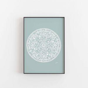 Sahara Decor Mandala in Solid Haze Wall Art Print | By Pick a Pear | Unframed