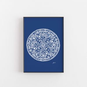 Sahara Decor Mandala in Solid Navy Wall Art Print | by Pick a Pear | Unframed