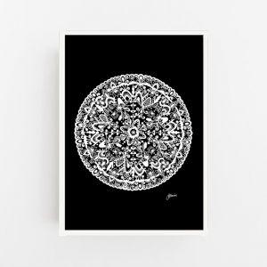 Sahara Mandala in Black Solid Print by Pick a Pear | Canvas Wall Art