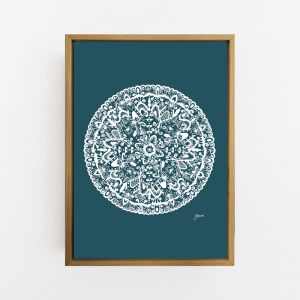 Sahara Mandala in Dark Teal by Pick a Pear | Canvas or Art Print