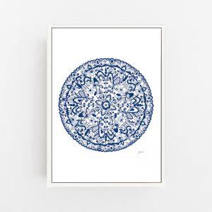 Sahara Mandala in Navy Blue Art Print   By Pick a Pear   Canvas