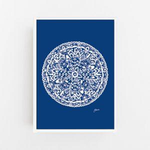 Sahara Mandala in Navy Solid Print by Pick a Pear | Canvas Wall Art