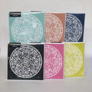 Sahara Solid Decor Mandala Frame It Designer Greeting Gift Card | 6 Pack | 155x155mm