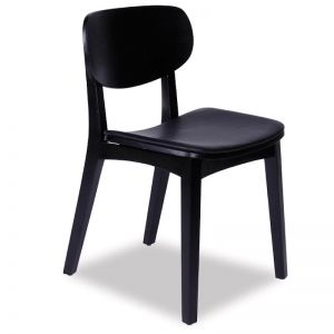 Saki Dining Chair | Black Stained Ash With Black Seat Pad