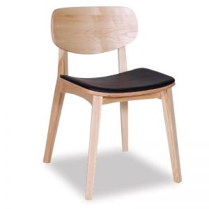 Saki Dining Chair | Natural Ash With Black Seat Pad
