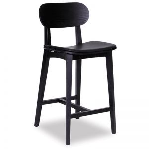Saki Kitchen Bar Stool | Black Stained Ash With Black Seat Pad