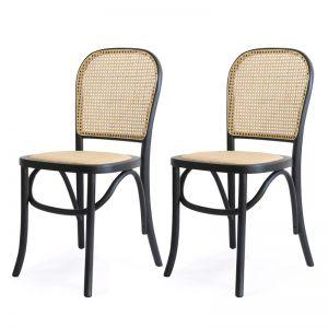 Salsa Rattan & Bentwood Dining Chair   Black   Set of 2   by Black Mango