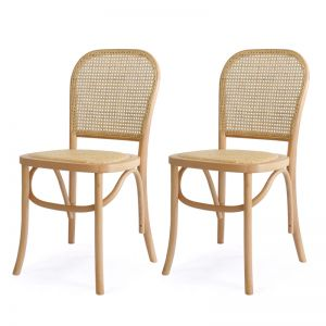 Salsa Rattan & Bentwood Dining Chair | Natural | Set of 2 | by Black Mango