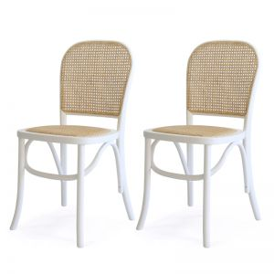 Salsa Rattan & Bentwood Dining Chair | White | Set of 2 | by Black Mango