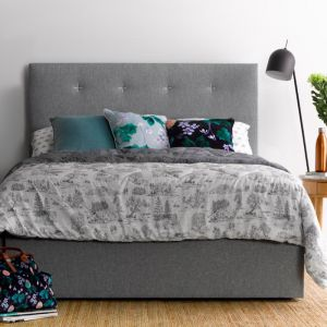 Samantha's light grey bedhead | Black Stitch | by Billy's Beds