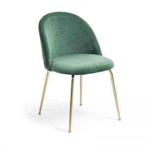Sanari Velvet Chair | Emerald Green with Gold legs