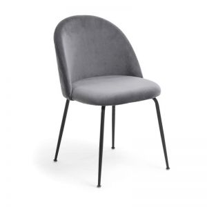 Sanari Velvet Chair | Graphite with Black Legs