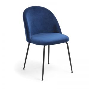 Sanari Velvet Chair | Navy Blue with Black Legs