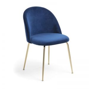 Sanari Velvet Chair | Navy Blue with Gold Legs