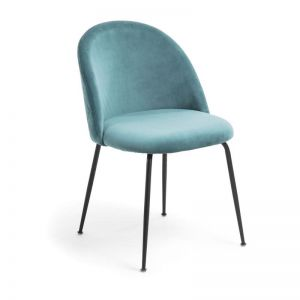 Sanari Velvet Chair | Teal with Black Legs