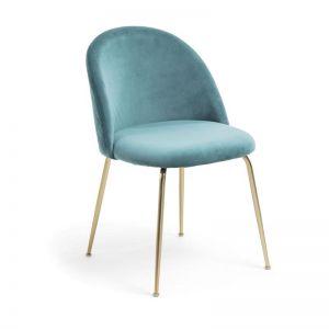 Sanari Velvet Chair | Teal with Gold Legs