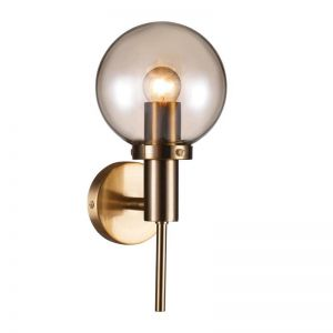 Santiso 1 Light Wall Bracket in Brushed Brass/Amber | Beacon Lighting
