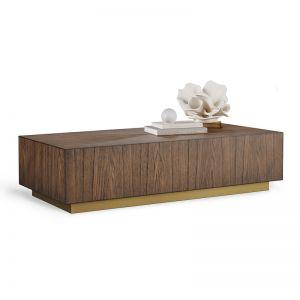 Sariyah Rectangular Block Coffee Table | Walnut & Bronze