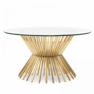 Sassy Glass Coffee Table | Brushed Gold Base | 90cm